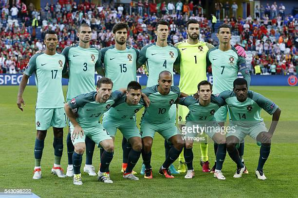 Nani of Portugal Pepe of Portugal Andre Gomes of Portugal Jose Fonte of Portugal goalkeeper Rui Patricio of Portugal Cristiano Ronaldo of Portugal...