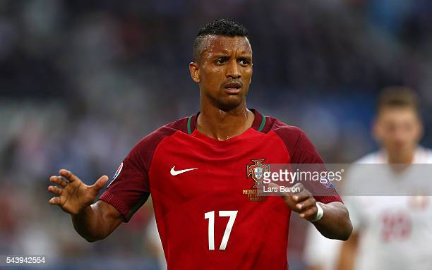 Nani of Portugal reacts during the UEFA EURO 2016 quarter final match between Poland and Portugal at Stade Velodrome on June 30 2016 in Marseille...