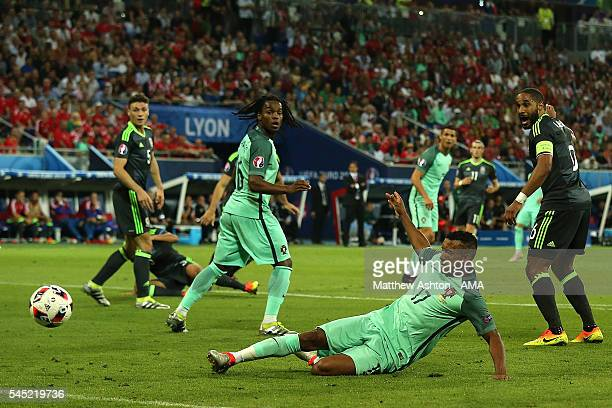 Nani of Portugal scores a goal to make the score 2-0 during the UEFA Euro 2016 Semi Final match between Portugal and Wales at Stade des Lumieres on...