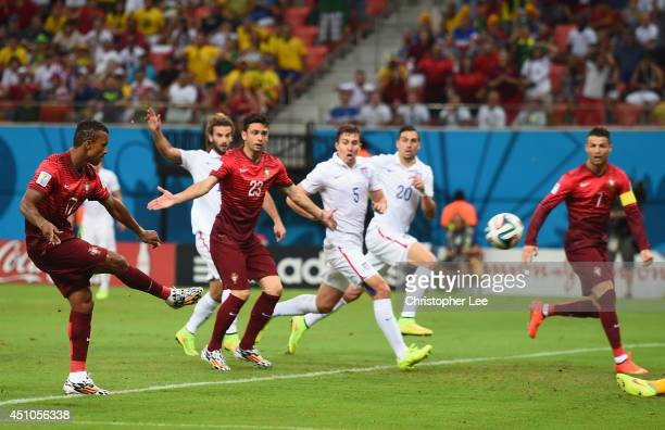 Nani of Portugal scores his team's first goal during the 2014 FIFA World Cup Brazil Group G match between the United States and Portugal at Arena...