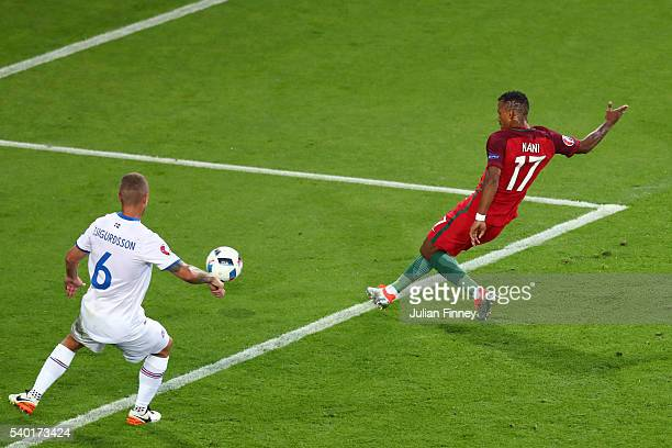 Nani of Portugal scores his team's first goal during the UEFA EURO 2016 Group F match between Portugal and Iceland at Stade GeoffroyGuichard on June...
