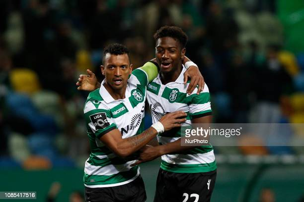 Nani of Sporting celebrates his goal with with Abdoulaye Diaby of Sporting during Primeira Liga 2018/19 match between Sporting CP vs Moreirense FC in...