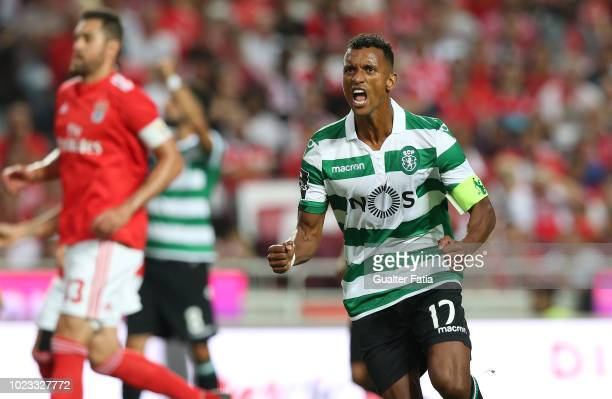 Nani of Sporting CP celebrates after scoring a goal during the Liga NOS match between SL Benfica and Sporting CP at Estadio da Luz on August 25 2018...