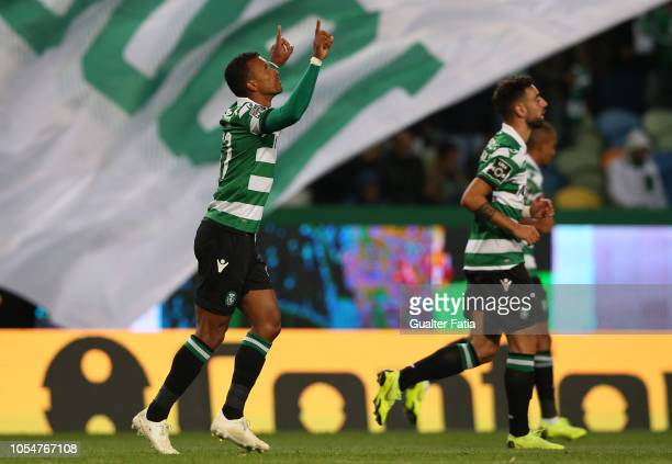 Nani of Sporting CP celebrates after scoring a goal during the Liga NOS match between Sporting CP and Boavista FC at Estadio Jose Alvalade on October...