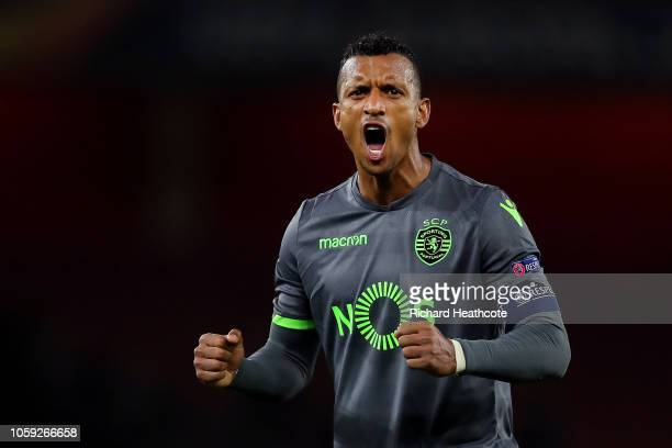 Nani of Sporting CP celebrates after the UEFA Europa League Group E match between Arsenal and Sporting CP at Emirates Stadium on November 8, 2018 in...
