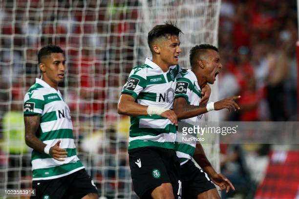 Nani of Sporting CP celebrates his goal with Freddy Montero of Sporting CP and Raphina of Sporting CP during Primeira Liga 2018/19 match between SL...
