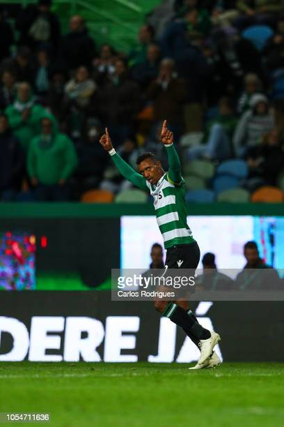 Nani of Sporting CP celebrates scoring Sporting CP goal during the Liga NOS round 8 match between Sporting CP and Boavista FC at Estadio Jose...