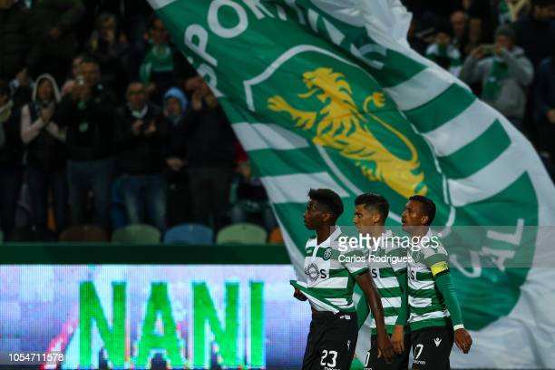 Nani of Sporting CP celebrates scoring Sporting CP goal with Abdoulay Diaby of Sporting CP and Freddy Montero of Sporting CP during the Liga NOS...