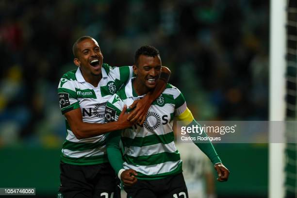 Nani of Sporting CP celebrates scoring Sporting CP Third goal with Bruno Gaspar of Sporting CP during the Liga NOS round 8 match between Sporting CP...