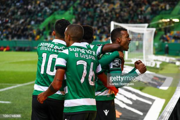 Nani of Sporting CP celebrates scoring Sporting CP Third goal with his team mates during the Liga NOS round 8 match between Sporting CP and Boavista...