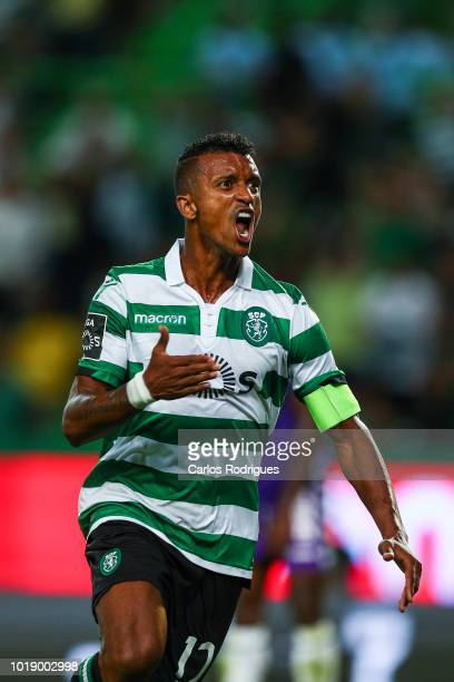 Nani of Sporting CP celebrates scoring Sporting goal during the Liga NOS match between Sporting CP and Vitoria FC at Estadio Jose Alvalade on August...