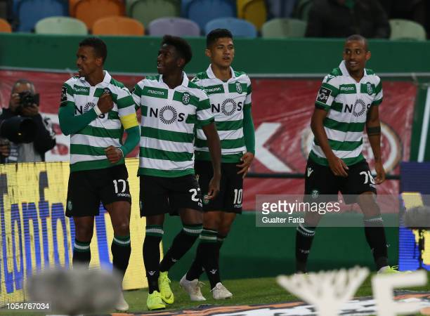 Nani of Sporting CP celebrates with teammates after scoring a goal during the Liga NOS match between Sporting CP and Boavista FC at Estadio Jose...