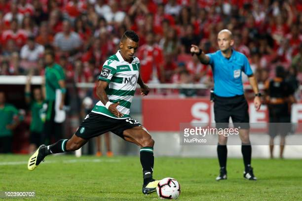 Nani of Sporting CP shoots a penalty kick to score his side's goal during Primeira Liga 2018/19 match between SL Benfica vs Sporting CP in Lisbon on...