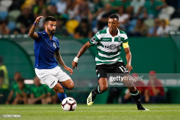 Nani of Sporting vies for the ball with Tiago Silva of Feirense during Primeira Liga 2018/19 match between Sporting CP vs CD Feirense in Lisbon on...