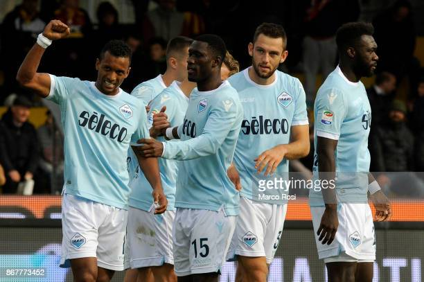 Nani of SS Lazio celebrates a fifth goal with his team mates during the Serie A match between Benevento Calcio and SS Lazio at Stadio Ciro Vigorito...