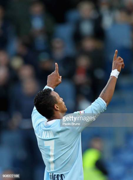 Nani of SS Lazio celebrates after scoring the team's fifth goal during the Serie A match between SS Lazio and AC Chievo Verona at Stadio Olimpico on...