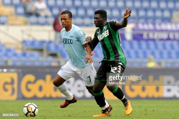 Nani of SS Lazio compete for the ball with Alfred Duncan of US Sassuolo during the Serie A match between SS Lazio and US Sassuolo at Stadio Olimpico...