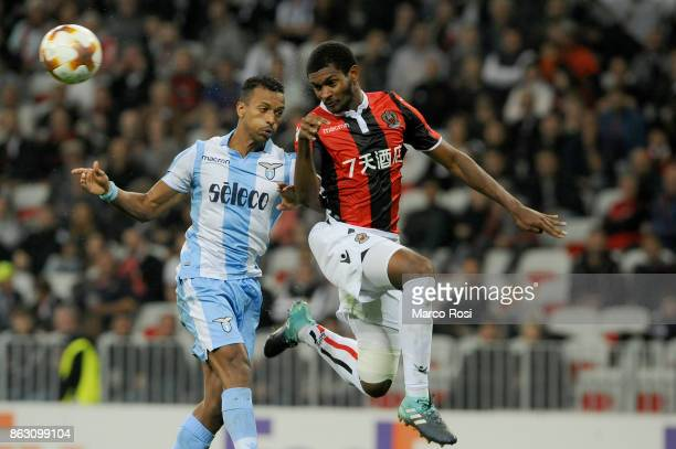 Nani of SS Lazio compete for the ball with Marlon of OGC Nice during the UEFA Europa League group K match between OGC Nice and Lazio at Allianz...