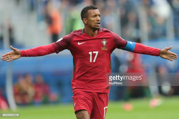 Nani of the Portugal national football team celebrates after scoring a goal during the 2017 FIFA Confederations Cup match first stage Group A between...