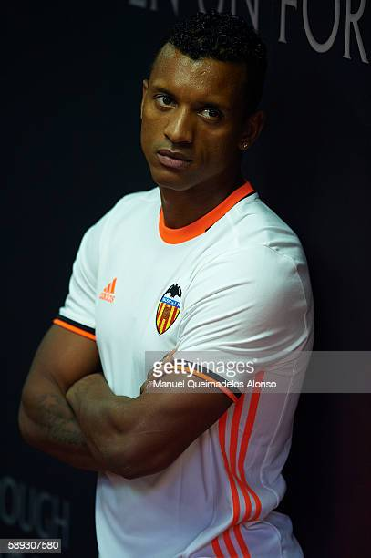 Nani of Valencia looks on during the team official presentation ahead of the preseason friendly match between Valencia CF and AC Fiorentina at...