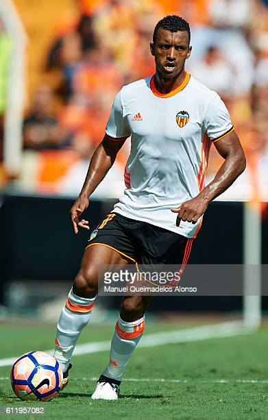 Nani of Valencia runs with the ball during the La Liga match between Valencia CF and Atletico de Madrid at Mestalla Stadium on October 02 2016 in...