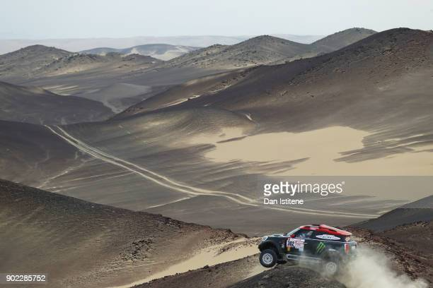 Nani Roma of Spain and XRaid drives with codriver Alex Haro Bravo of Spain in the Mini John Cooper Works Rally car in the Classe T12 4x4 Diesel...