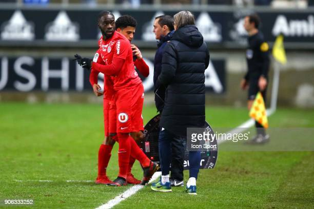 Nanitamo jonathan of Montpellier during the Ligue 1 match between Amiens SC and Montpellier Herault SC at Stade de la Licorne on January 17 2018 in...