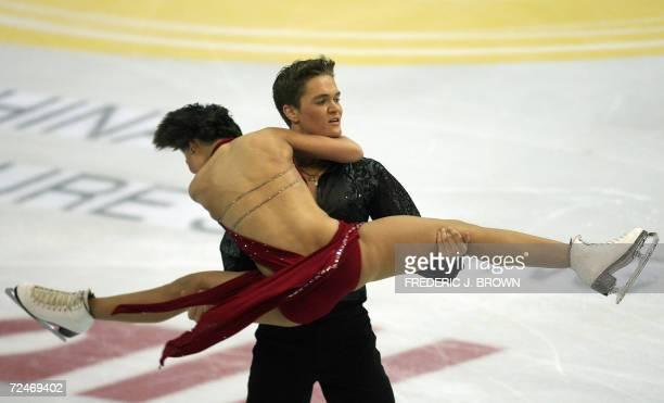Israeli pair Alexandra Zaretski and her partner Roman Zaretski perform during the Ice Dancing Compulsory Dance 09 November 2006 at the Cup of China...