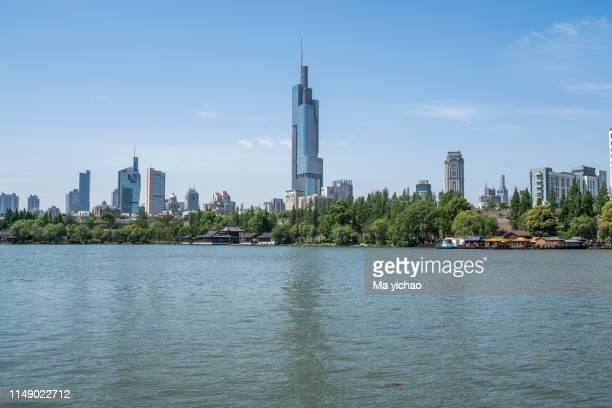 nanjing city, jiangsu province,xuanwu lake park landscape - nanjing road stockfoto's en -beelden