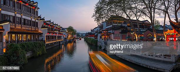 Nanjing Confucius Temple and boat on the River