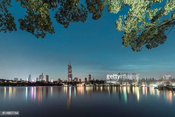 Nanjing Downtown Skyline Illuminated