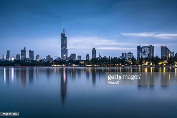 Nanjing Downtown Skyline Nightfall, Zifeng Tower, Xuanwu Lake