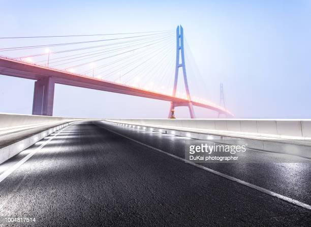 nanjing no.3 yangtze river bridge - suspension bridge stock photos and pictures