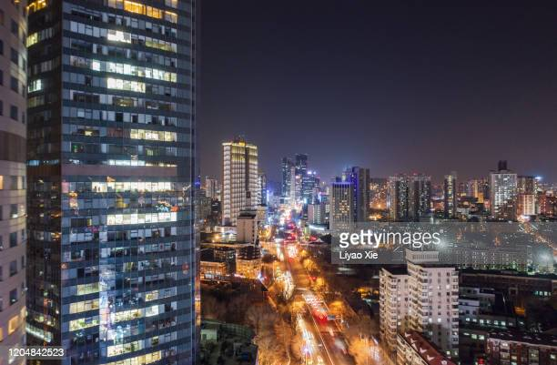 nanjing road aerial view - liyao xie stock pictures, royalty-free photos & images