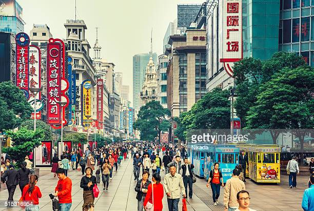 nanjing road in shanghai, china - china stock pictures, royalty-free photos & images