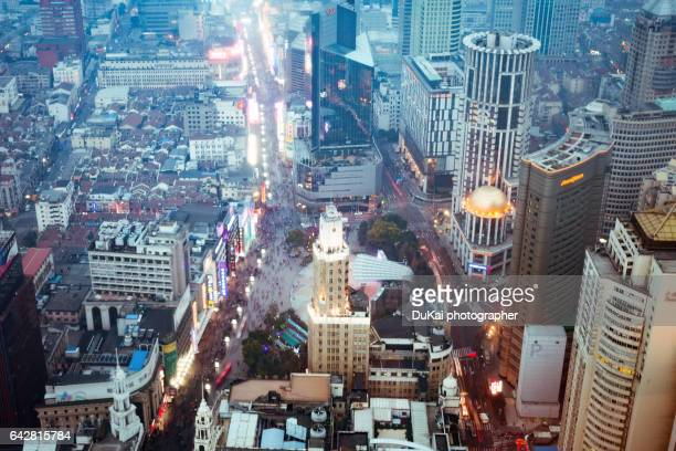 nanjing road night city close-up shanghai - nanjing road stock pictures, royalty-free photos & images