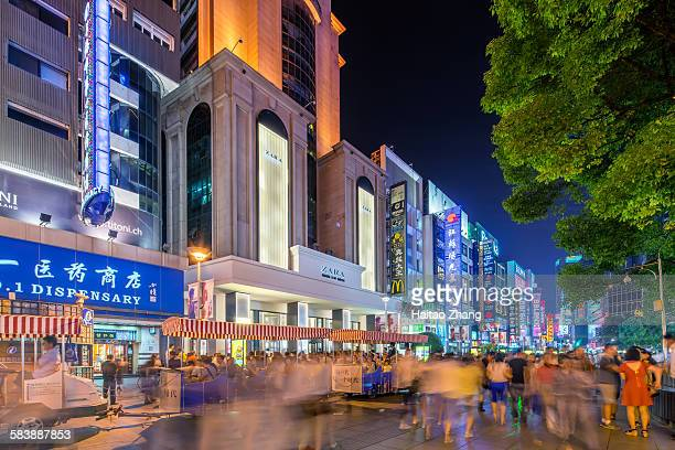 nanjing road scenery - shanghai billboard stock pictures, royalty-free photos & images