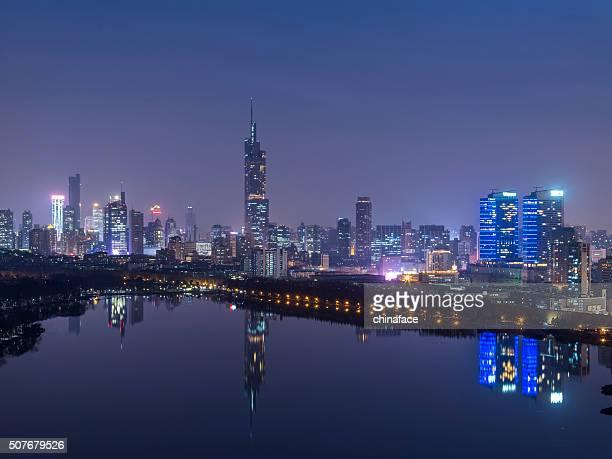 nanjing skyline at night