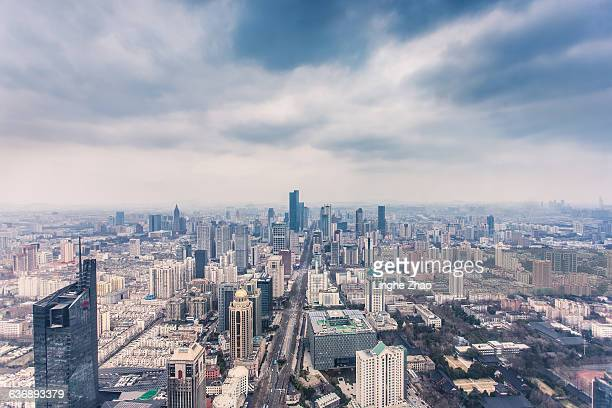 Nanjing skyline with clouds