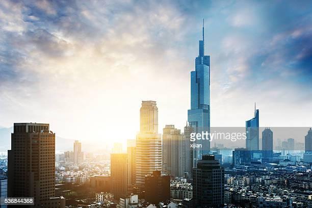 南京の街並みと夕日、中国