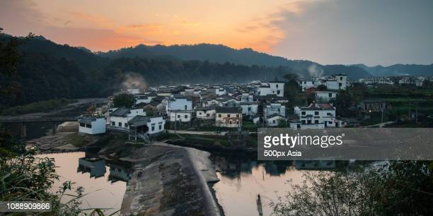 nanjing townscape at dawn, jiangsu, china - image stockfoto's en -beelden