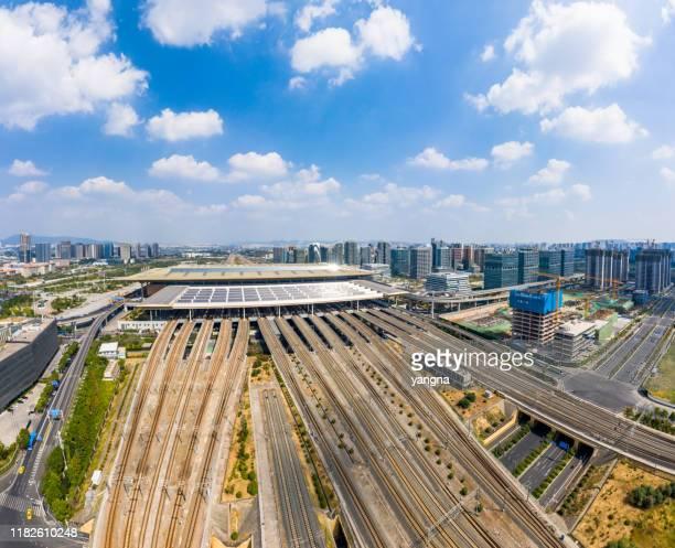 nanjing stedelijke architectuur landschap luchtfotografie - nanjing road stockfoto's en -beelden