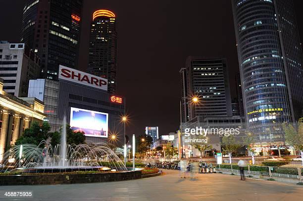 nanjing xinjiekou at night - nanjing stock pictures, royalty-free photos & images