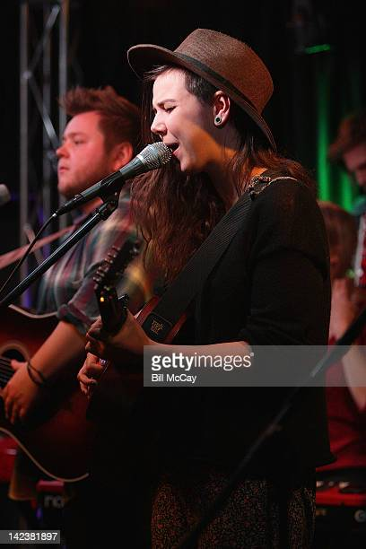 Nanna Bryndis Hilmarsdottir and Ragnar Raggi Porhallsson from the band Of Monsters And Men perform at Radio Staion WRFF iHeartRadio Performance...