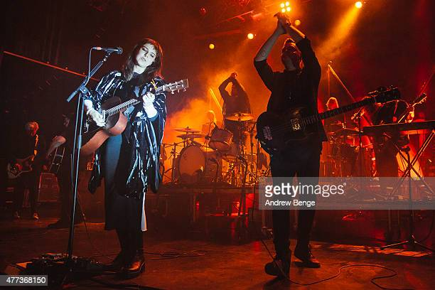 Nanna Bryndis Hilmarsdottir Brynjar Leifsson and Arnar Rosenkranz Hilmarsson of the band Of Monsters and Men performs on stage at The Forum on June...