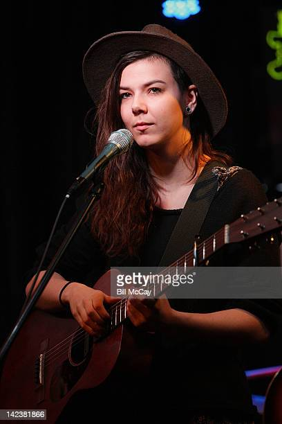 Nanna Bryndis Hilmarsdottir from the band Of Monsters And Men performs at Radio Staion WRFF iHeartRadio Performance Theater April 3 2012 in Bala...