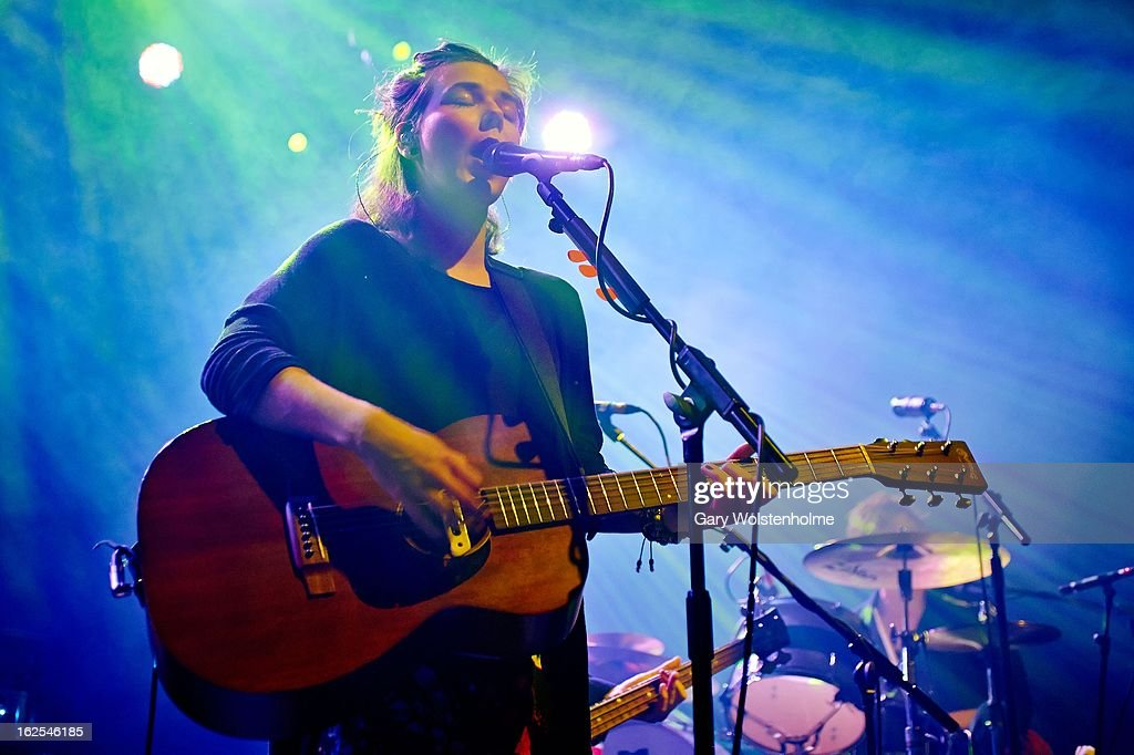 Nanna Bryndis Hilmarsdottir of Of Monsters and Men perform on stage at Manchester Academy on February 24, 2013 in Manchester, England.