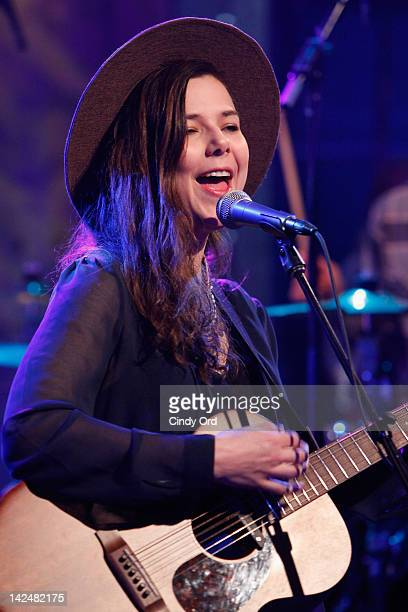 Nanna Bryndis Hilmarsdottir of the band Of Monsters And Men perform on Hoppus On Music at fuse Studios on April 5 2012 in New York City