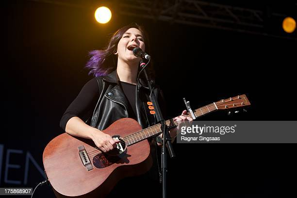 Nanna Bryndis Hilmarsdottir of the band Of Monsters And Men performs on Day 2 of the Way Out West Festival at Slottskogen on August 9 2013 in...