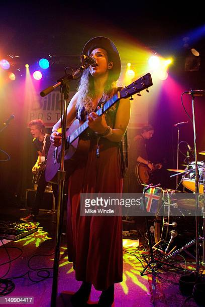 Nanna Bryndis Hilmarsdottir of the Icelandic band Of Monsters and Men performs on stage during the Billboard post party during Lollapolooza 2012 at...